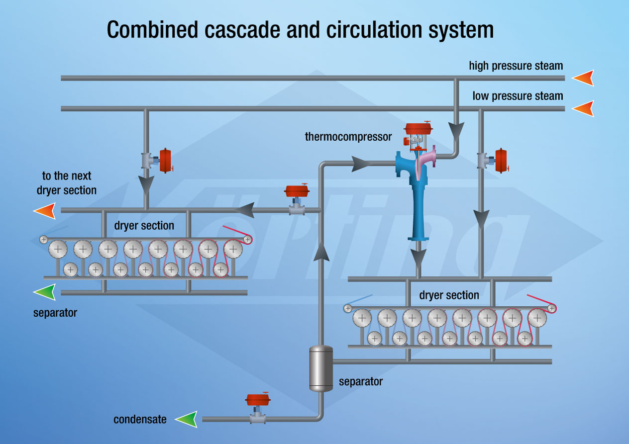 Combined cascade and circulation system of a paper machine