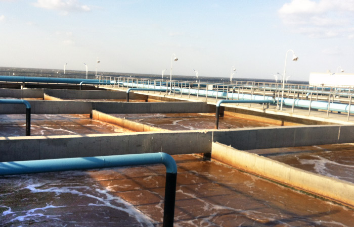 Aeration tank of a petrochemical waste water treatment plant